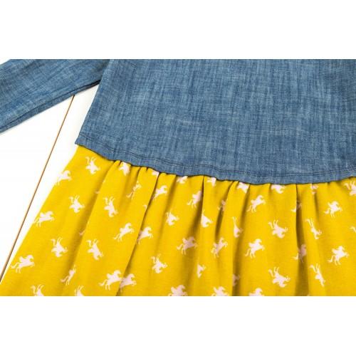 джинсовое  сине-желтое платье