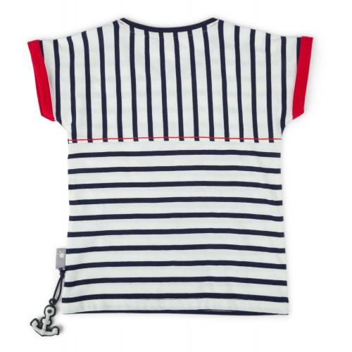 Полосатая футболка с вышивкой