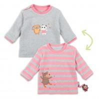 Двусторонний джемпер для малышки розовый/светло-серый